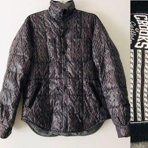 CROOKS & CASTLES Knit Print DOWN Puffer JA…